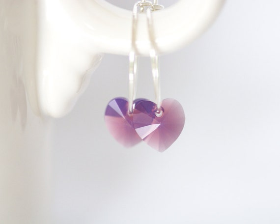 Purple Opal Heart Sterling Silver Hoop Earrings - Light Violet Lavender Swarovski Crystal Handmade 20 gauge