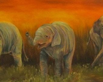"Elephants wildlife animal  original art oil painting on 10"" x 20"" canvas by Sandra Cutrer Fine Art"