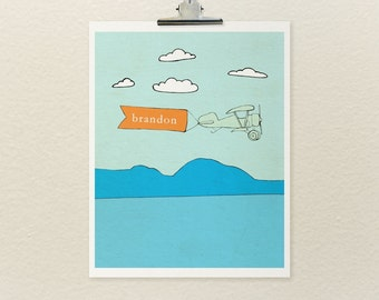 Let's Fly // Customized, Typographic Print, Airplane Theme, Kids Room, Aviation, Nursery Art, Boys Room, Girls Room, Planes
