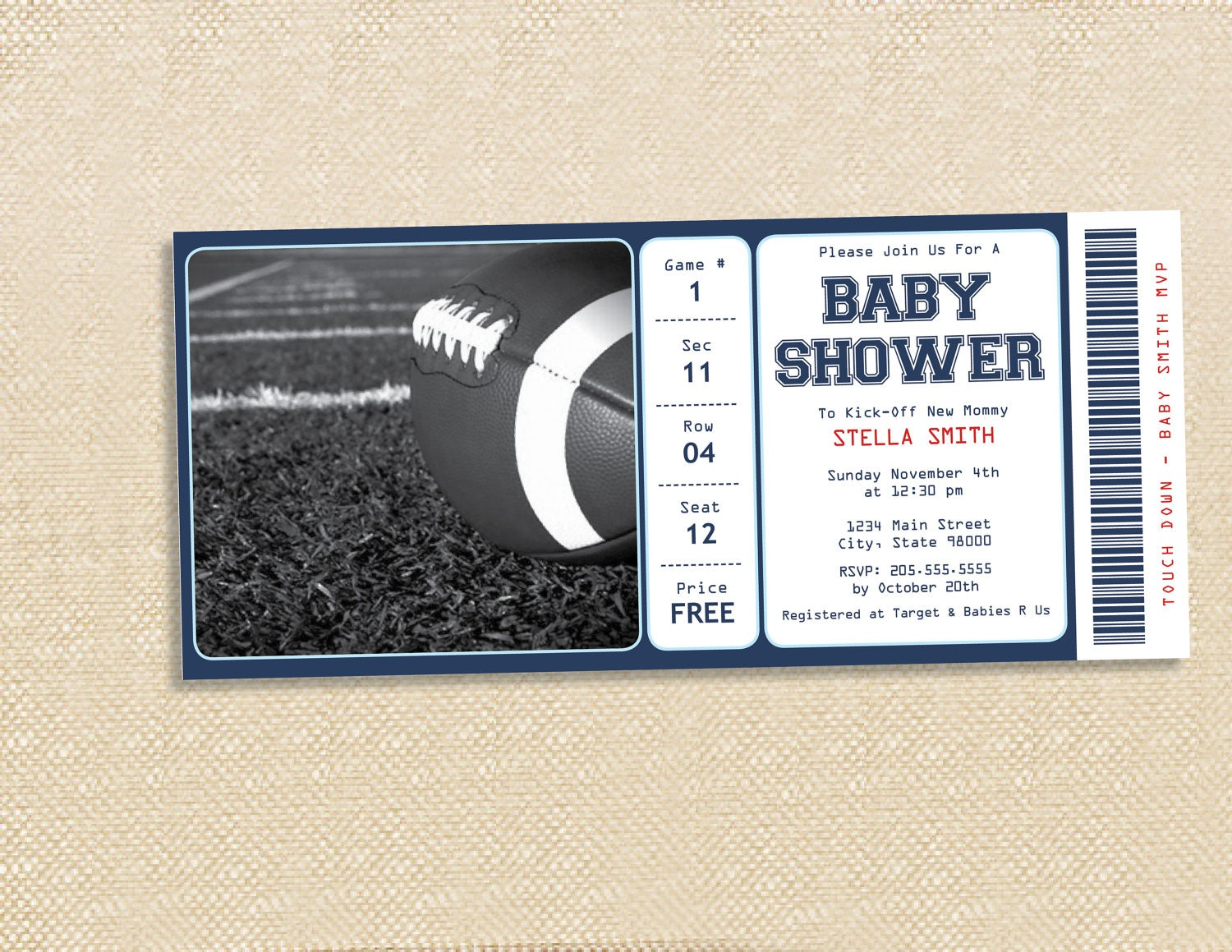 Football Baby Shower Invitations - Home Design Ideas