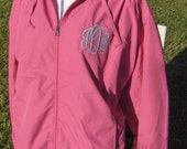 Monogram Lightweight Wind Breaker Jacket for Ladies Zip Up with Hood Plus Size Available