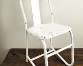 RESERVED Industrial Metal Chair : Vintage White Chippy Paint