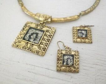 Vintage Choker Earrings Pendant Necklace Gold Tone Silver Tone Black Enamel Mid Century GallivantsVintage