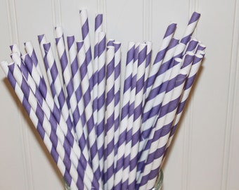 Paper Straws, 25 Purple Striped Paper Straws, Paper Drinking Straws with DIY flags, Princess parties, Girls, Baby Shower, Wedding, Party