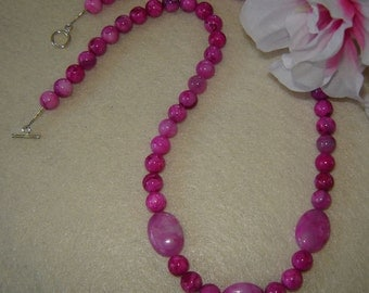 Pink Crazy Lace Agate Gemstone Beaded Necklace  FREE SHIPPING