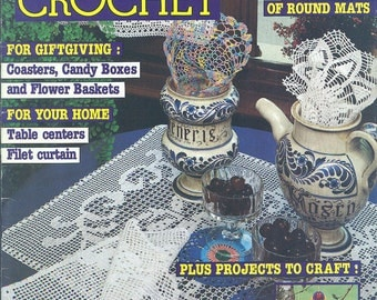 Magic Crochet No. 36 June 1985 Patterns for RED DRESS, Doilies, Baby Carrier Liner, Pompon Animals, Filet Curtains, Toddler Sweaters, MORE