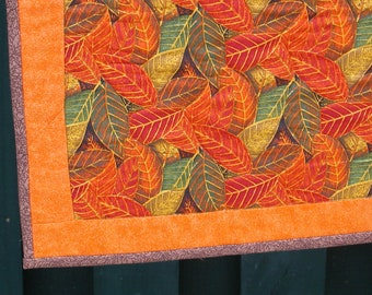 Quilted AUTUMN LEAF RUNNER in Oranges, Greens and Gold  Approx 17 x  46 in. A Quiltsy Handmade item on Etsy.