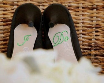 I Do Shoe Stickers - GREEN I Do Wedding Shoe Appliques - Green I Do Shoe Decals for your Bridal Shoes