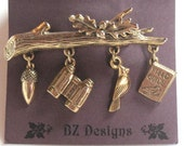 Bird Watching Brooch - Bird Watching Charms - Branch with Bird Pin - Great gift for the Bird Watcher in your life