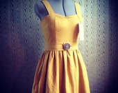 Hand dyed Linen garden dress with sewn in eyelet petticoat, pockets and handmade wooden buttons- made to measure