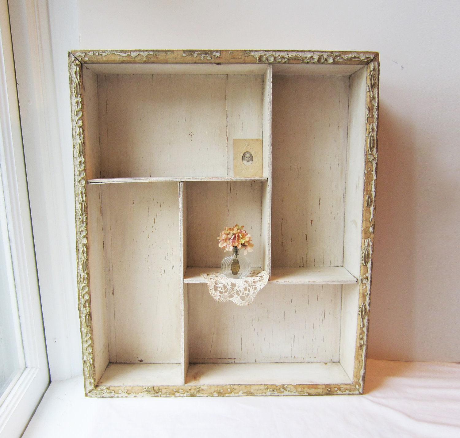 vintage shabby chic cottage chic large shadow box wall. Black Bedroom Furniture Sets. Home Design Ideas