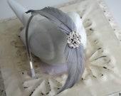 Silver Grey Feather Headband - Crystal Bridal Headband - Feather Fascinator - Bridesmaids - Many Colors