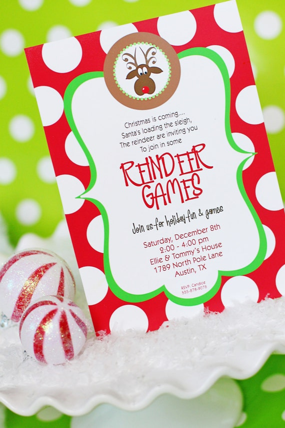 Reindeer Games INVITATION Printable Christmas Party – Printable Christmas Party Invitation