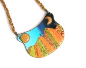 Story statement necklace large bib polymer clay necklace wearable illustration story around your neck autumn colors bold necklace ooak