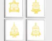 Birdcage Honey Yellow Art Prints Shabby Chic French Country Vintage Ilustrations more colors available set of 4