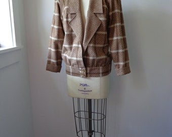 Vintage Eisenhower Jacket 1960s Brown Plaid Wool Jacket Size Small Lightweight Bomber Style Jacket