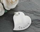 Sterling Silver Heart Add On Charm - Personalized - 0.75 inch wide