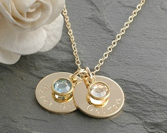 """Hand Stamped Gold-filled Mommy Necklace - Two 5/8"""" round discs with birthstones"""