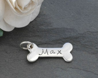 Dog Bone Charm - Personalized - Sterling Silver