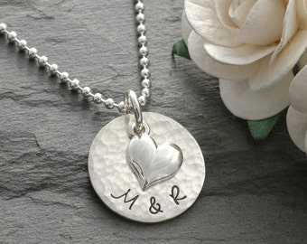 Personalized Necklace with heart - hand stamped jewelry - Perfect for anniversary - wedding - engagement