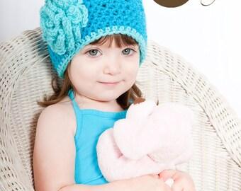 Crochet Girl Hat, Bright Blue Girl Hat, Baby Crochet Hat, Baby Crochet Photo Prop