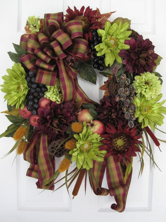 LAST CHANCE SALE- 30-Inch Holiday Wreath - Fall Thanksgiving Christmas- Free Shipping
