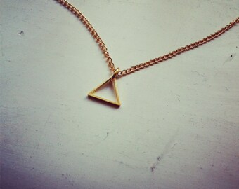 tiny dainty triangle -necklace (gold plated triangle charm and gold plated chain minimal discreet neckpiece)