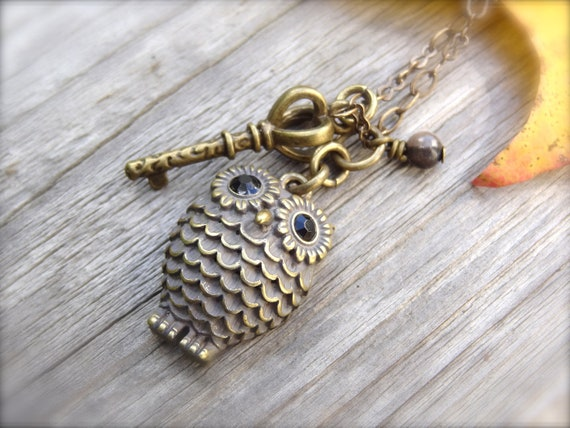 Key to Wisdom Antique Brass Necklace with Owl Charm