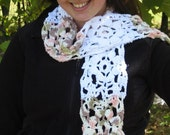 RESERVED FOR DAWN --- Flower Garden Scarf - White, Pink, Green, Brown