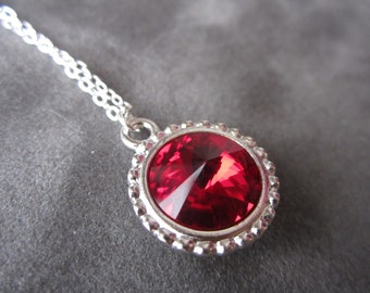 January Birthstone Necklace, Garnet Necklace, Deep Red Swarovski Crystal Jewelry, Mother's Necklace
