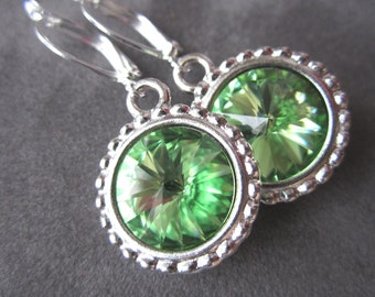 August Birthstone Earrings, Crystal Peridot Jewelry, Silver, Peridot Earrings, Birthstone Jewelry