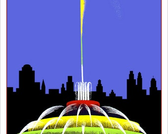 "Chicago poster print - Buckingham Fountain - WPA Poster Print -13""x19"" - Chicago art print - Chicago landmark"