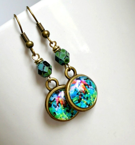 colorful photo under glass and brass drop earrings