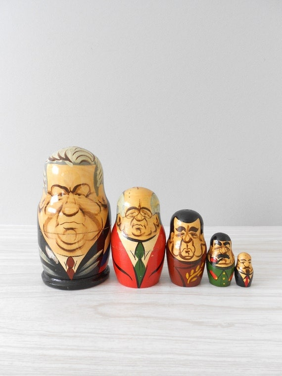 1980s wooden russian president nesting dolls // set of 5 // fathers day gift