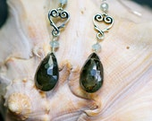 Moss Aquamarine & Sterling Silver Heart Dangle Earrings