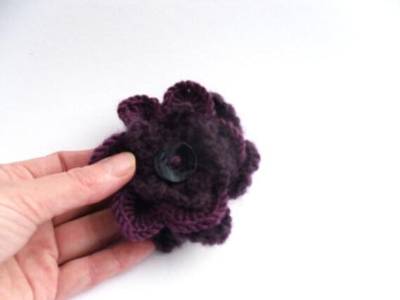 Purple crochet flower brooch pin . Mohair & 100% wool 3 layered