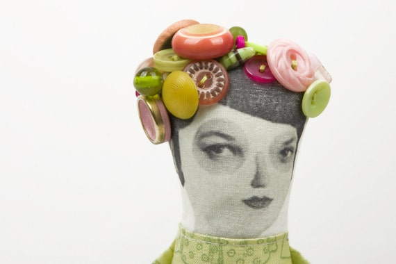 ooak  Suspicious lady Wearing light green printed dress , blooming in pink Vintage Beads & Buttons hat  - handmade cloth doll