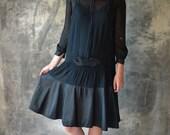 1920s Silk Chiffon Black Flapper Dress
