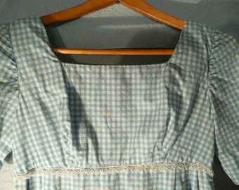 1963 Prom Dress Hand Made In Perfect Shape Light Blue and White Checked with Ric Rack size 6