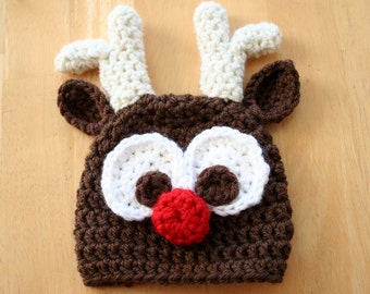 Rudolph hat, Reindeer Hat, crochet photo prop, Christmas hat, holiday hat, brown, cream, 5T to Adult sizes
