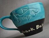 Shark Bait Mug Made To Order Shark Bait Soup Cocoa Coffee Mug by Symmetrical Pottery