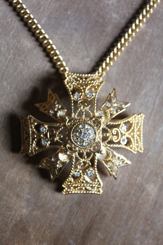 Vintage 80's KJL Maltese Cross Brooch/Pendant, 2 Necklaces, Earrings complete set