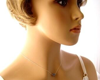 Black Crystal Necklace, Swarovski Necklace, Black Swarovski Bridesmaids Necklace, Black Minimalist Necklace, Black Wedding Jewelry,