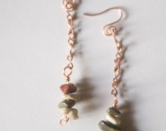 Copper and Red Creek Jasper Chip Long Dangle Earrings - A Bit of Chain and Stone - Art Jewelry by Sarah McTernen