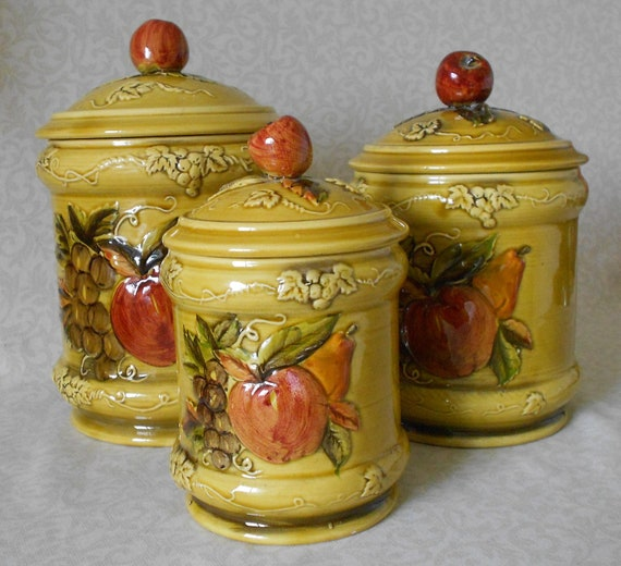 Ceramic Kitchen Canisters 1968 Lefton Apple Pear Pattern