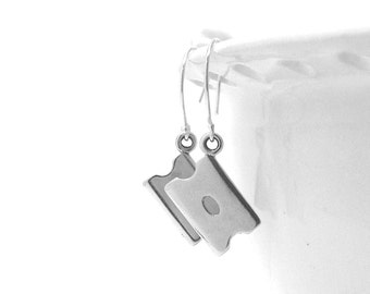 Razor Blade Earrings, Razor Earrings, Razor Jewelry, Razor Blade Jewelry, Razor Blades, Sterling Silver Jewelry, Dangle Earrings