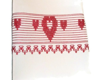 Kitchen Towel Red Hearts