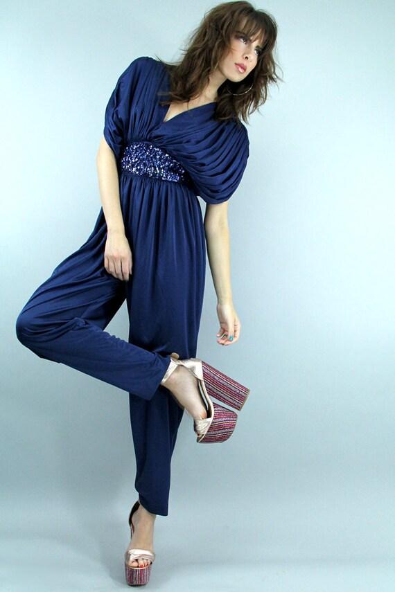 Vintage 70s Disco Grecian Jumpsuit Blue Sequin Pantsuit