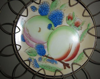 Ready to Hang Kitchen Decor -  Fruit Motif Transferware Plate in Scalloped Wire Holder