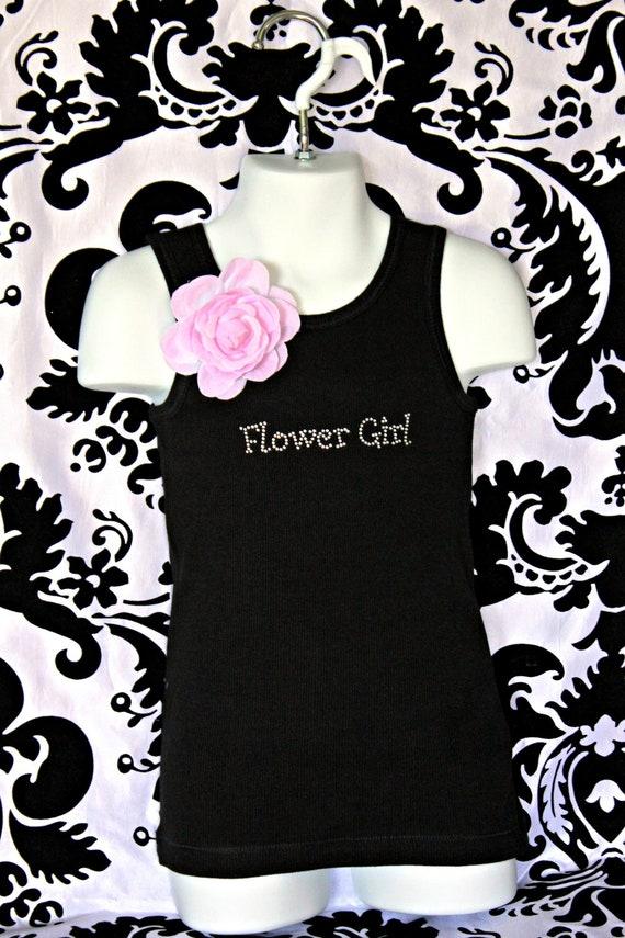 Flower Girl Girly Rhinestone Tank Top, Flower Girl Tee, Flower Girl Bling shirt, Flower Girl Bling Tank, Flower Girl Rhinestone Tank Top,
